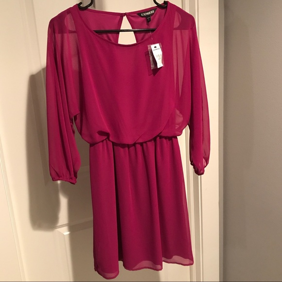 Express Dresses & Skirts - 🆕NWT Express Fuchsia Dress Sheer Sleeve XS